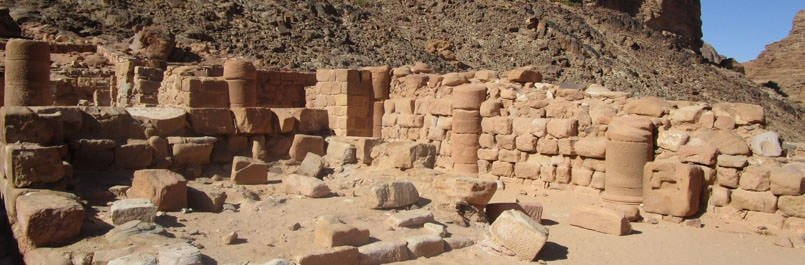 Ruins of the Nabatean temple near Wadi Rum village