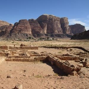 View on Wadi Rum village from the ruins of the Nabatean temple