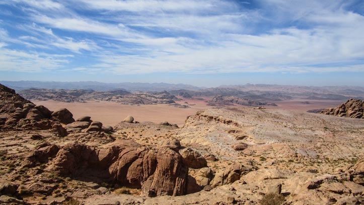 View over Wadi Rum desert from Jabal Al-Hash