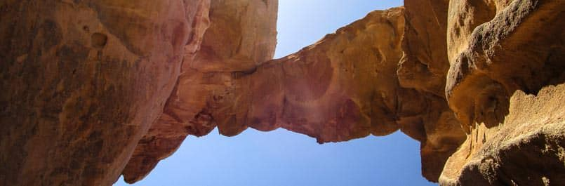 One of the most popular rock bridges in Wadi Rum desert