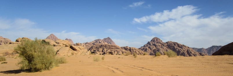Yellow sand area in Wadi Rum desert
