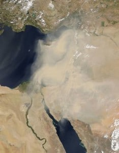 Nasa picture of the sandstorm that hit many countries in the Middle East