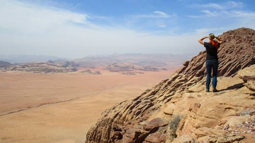 Bianca enjoying the view from Jabal Al-Hash in Wadi Rum desert