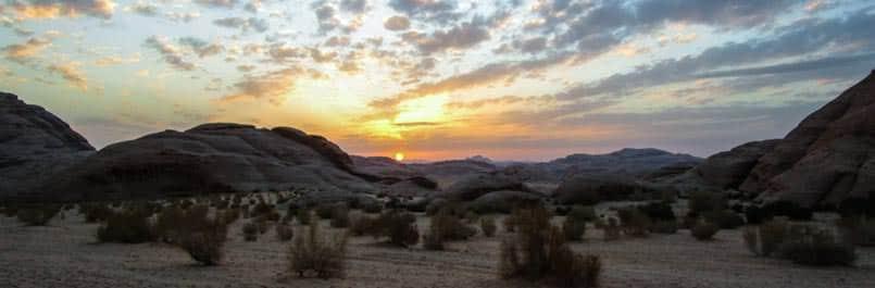 Sunset in Wadi Rum desert
