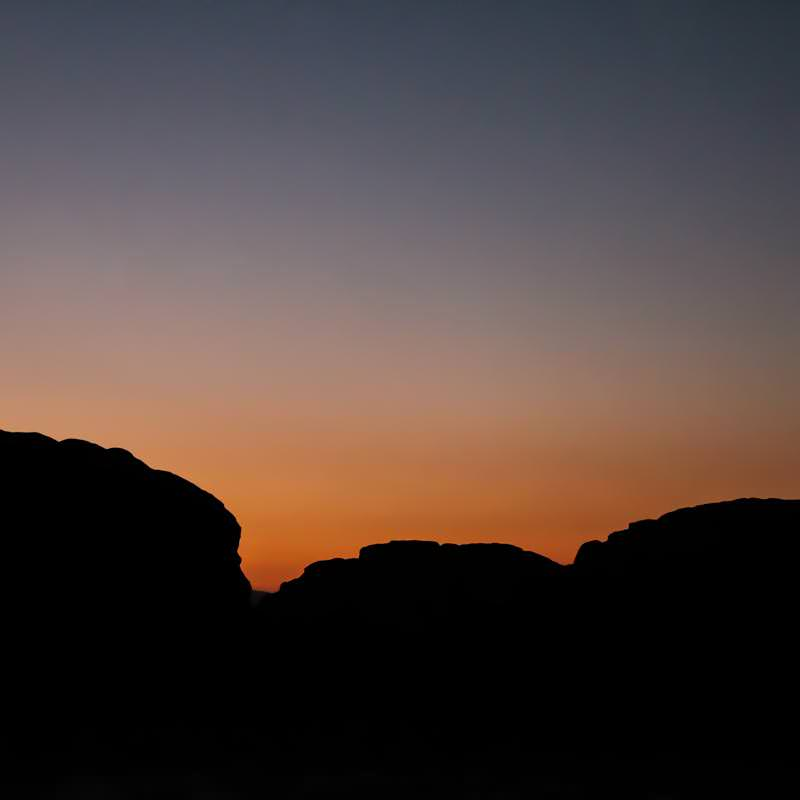 Coloured sky after sunset in Wadi Rum desert
