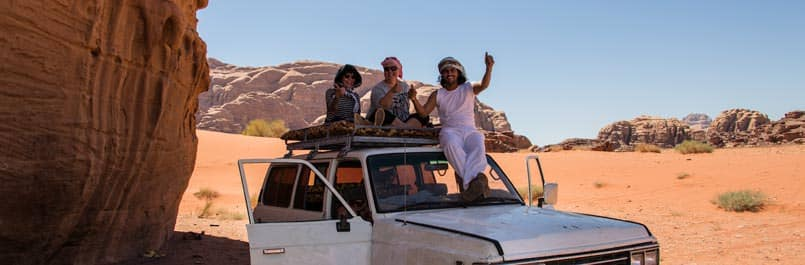 Fawaz and our guests Katja and Jutta enjoying Wadi Rum desert