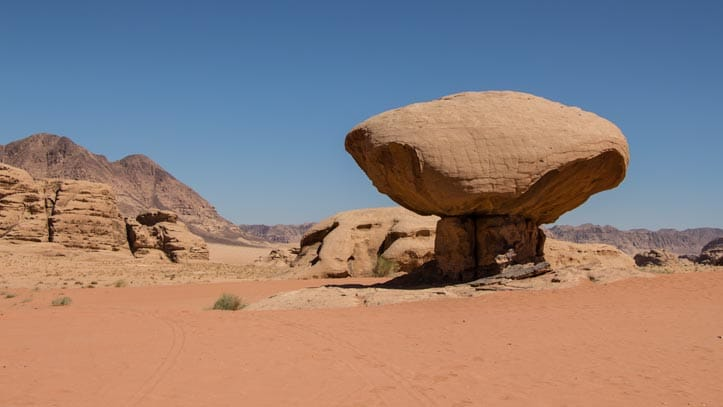 Mushroom rock, one of the wonderful shaped rocks in Wadi Rum desert