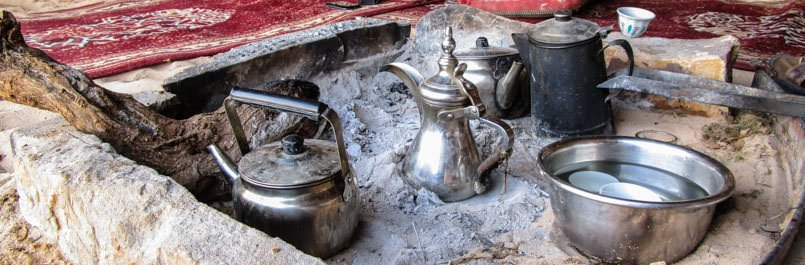 Preparing Bedouin coffee