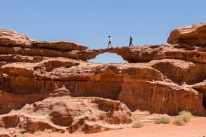 Little bridge, one of the most popular rock bridges in Wadi Rum desert