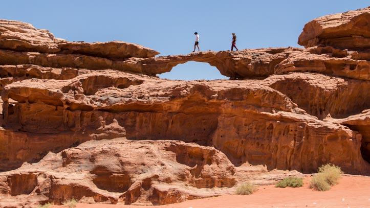Guests climbing little bridge