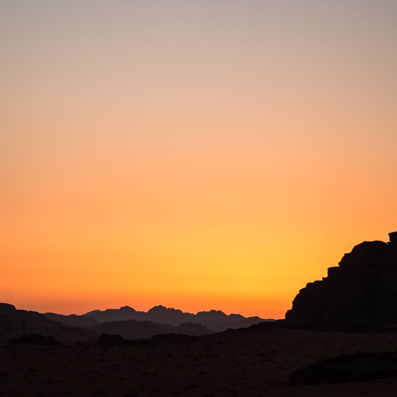 Amazing coloured sky after sunset in Wadi Rum desert