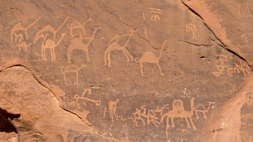 Detail of Anfishiyyeh inscriptions in Wadi Rum desert