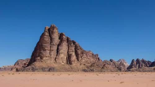 Seven Pillars of Wisdom in Wadi Rum desert