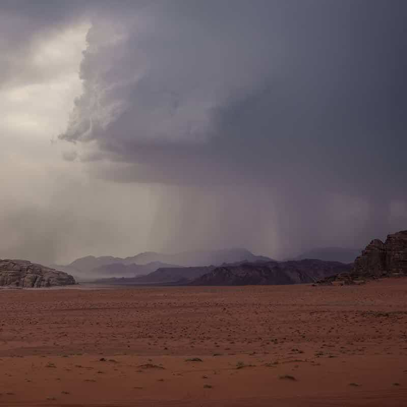 Heavy downpours in Wadi Rum desert