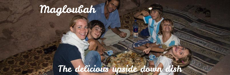 Enjoying Magloubah, the delicious upside down dish with the Zapp family