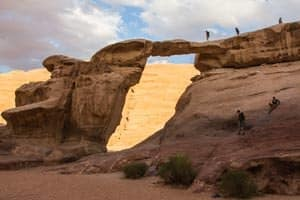 Um Fruth rock bridge, one of the most popular rock bridges in Wadi Rum desert