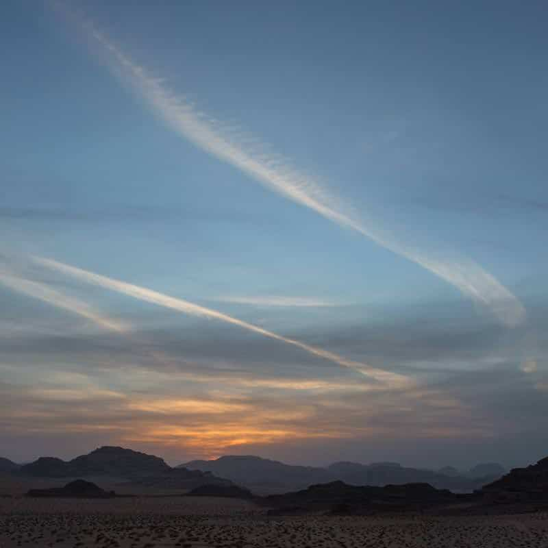 Arty sky at sunset time in Wadi Rum desert