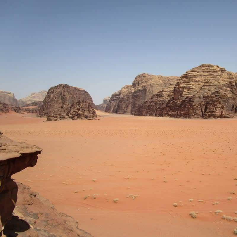 View from little bridge in Wadi Rum desert