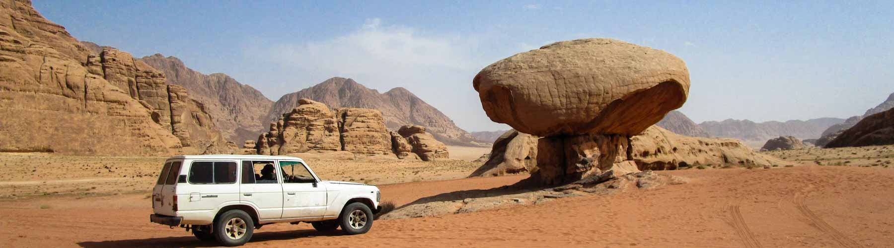 Visiting Mushroom rock during a jeep tour