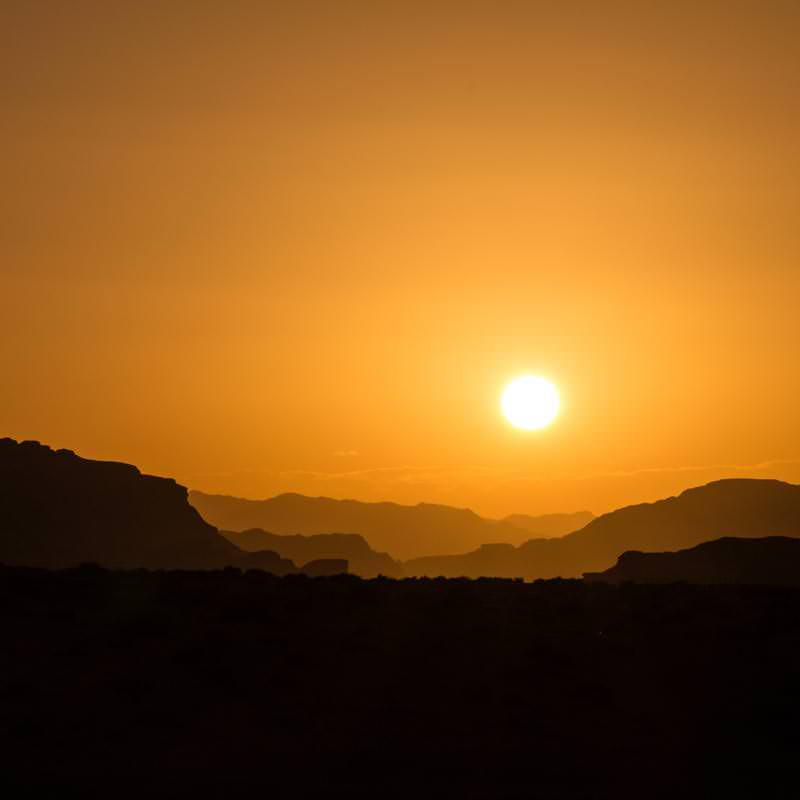 Colourful sunset in Wadi Rum desert