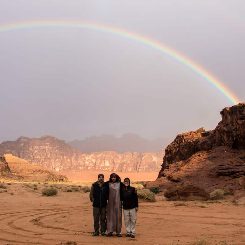 Rainbow as a breakfast present in Wadi Rum desert