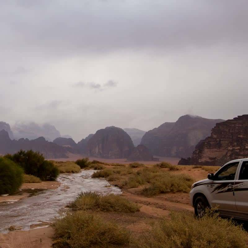 River after spring rain in Wadi Rum desert