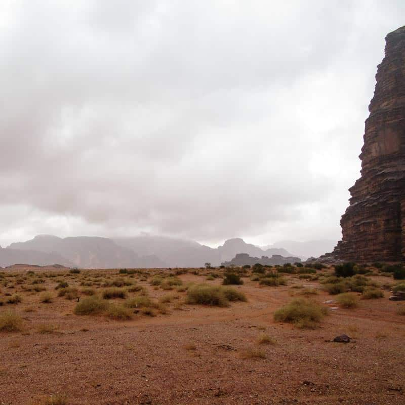 Dark clouds and rain in Wadi Rum desert