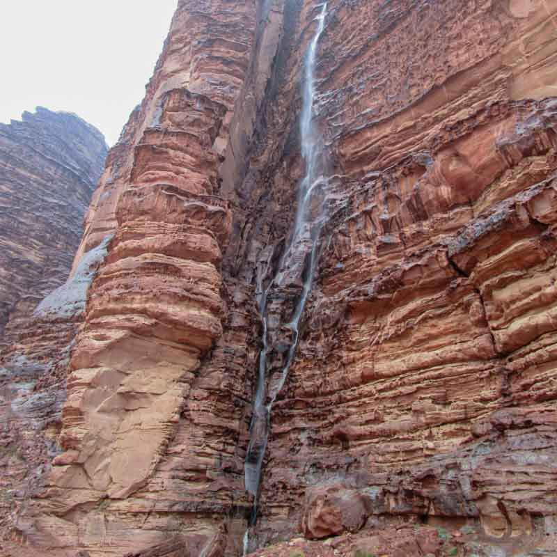 Waterfall after spring rain in Wadi Rum desert