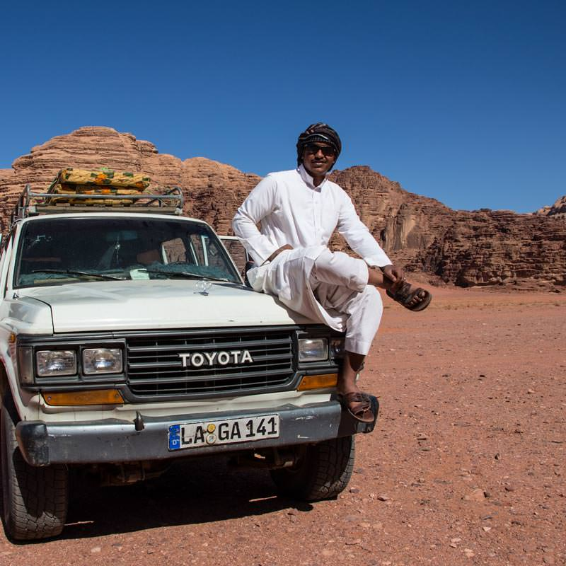 Abdullh on tour in Wadi Rum desert