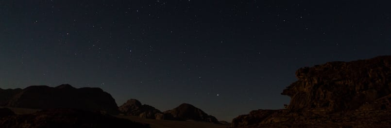 Wadi Rum desert's night sky