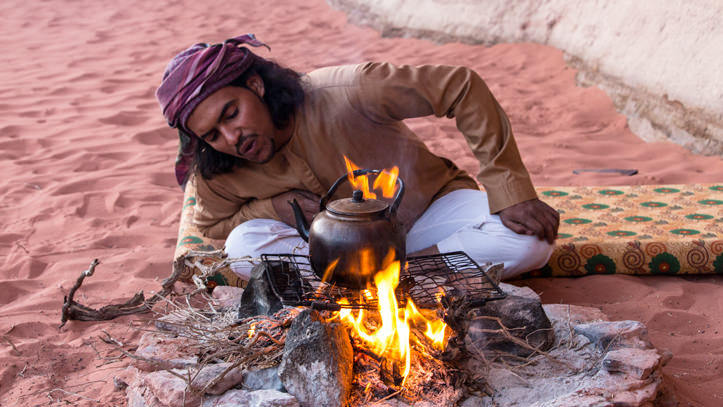 Preparing Bedouin tea over the fire