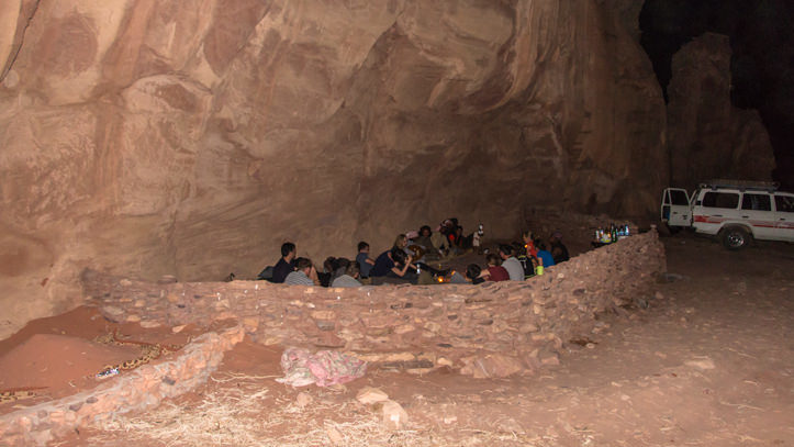 Group dinner in the Wadi Rum Nomads cave