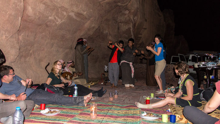 Dancing Bedouin style in the Wadi Rum Nomads cave