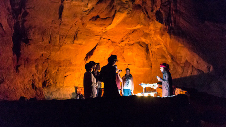 Serving dinner in the cave in Wadi Rum desert