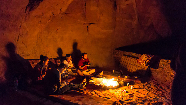 dinner around the fire in Wadi Rum desert
