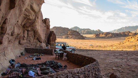 bivouac camping - sleeping under the stars in Wadi Rum