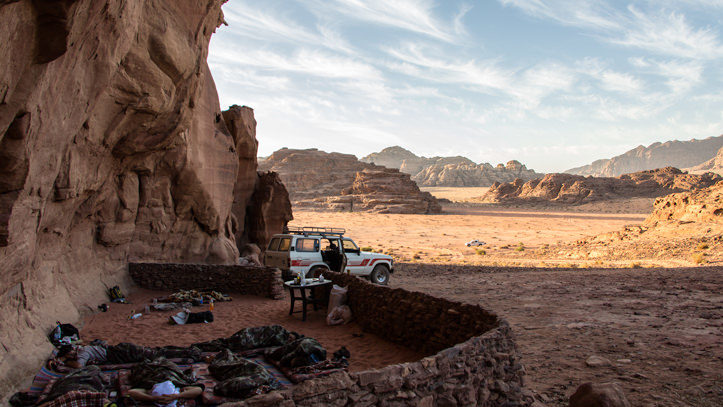 Bivouac camping sleeping under the stars in Wadi Rum desert