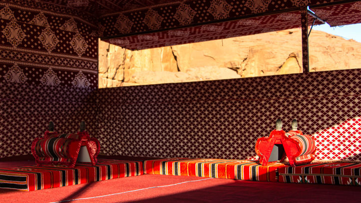 Wadi Rum Base Camp seating in the communal tent