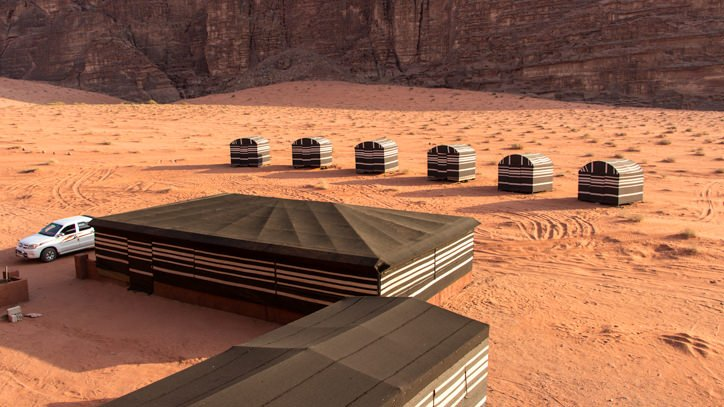 communal area and sleeping tents Wadi Rum Base Camp