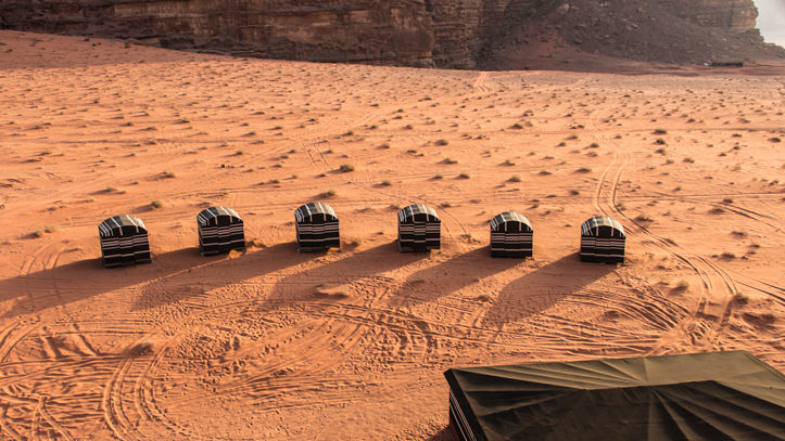 sleeping tents of Wadi Rum Base Camp