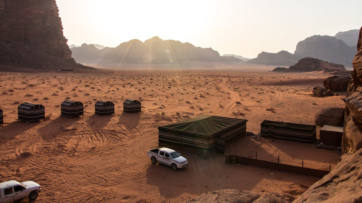 Wadi Rum Base Camp at sunset time