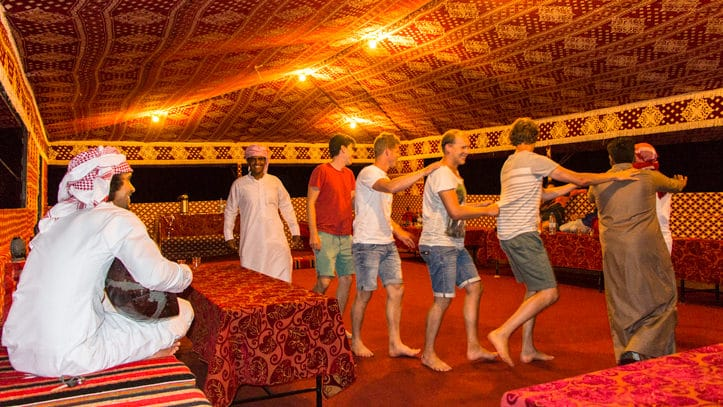 live music and dancing in the communal tent of Wadi Rum Base Camp