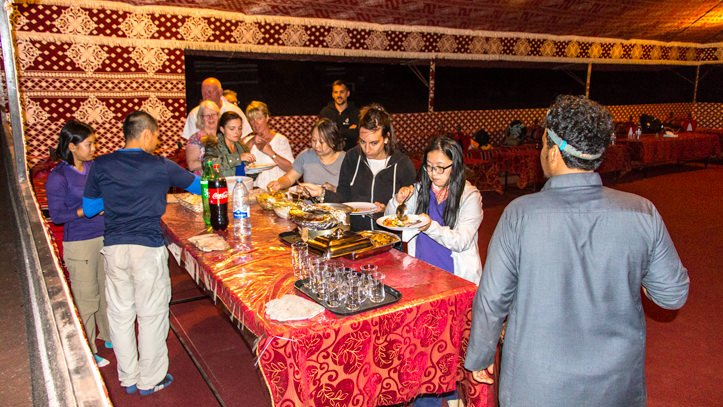 dinner time in the communal tent of Wadi Rum Base Camp