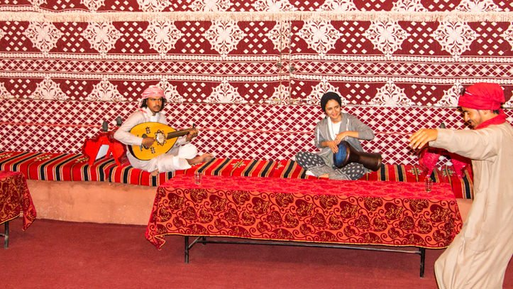 Wadi Rum Base Camp live music in the communal area