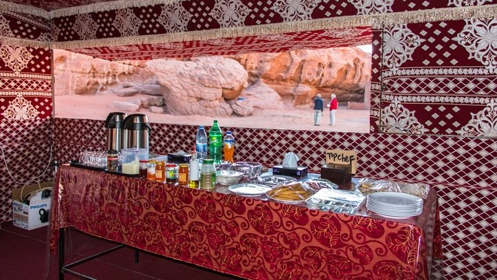 breakfast in the communal tent of Wadi Rum Base