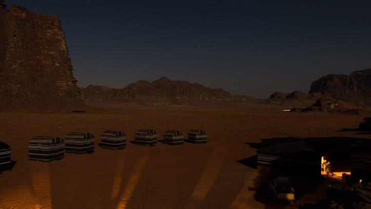 Wadi Rum Base Camp on a full moon night