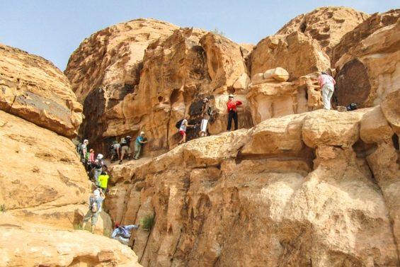 fawaz mohammad and guests scrambling burdah rock bridge