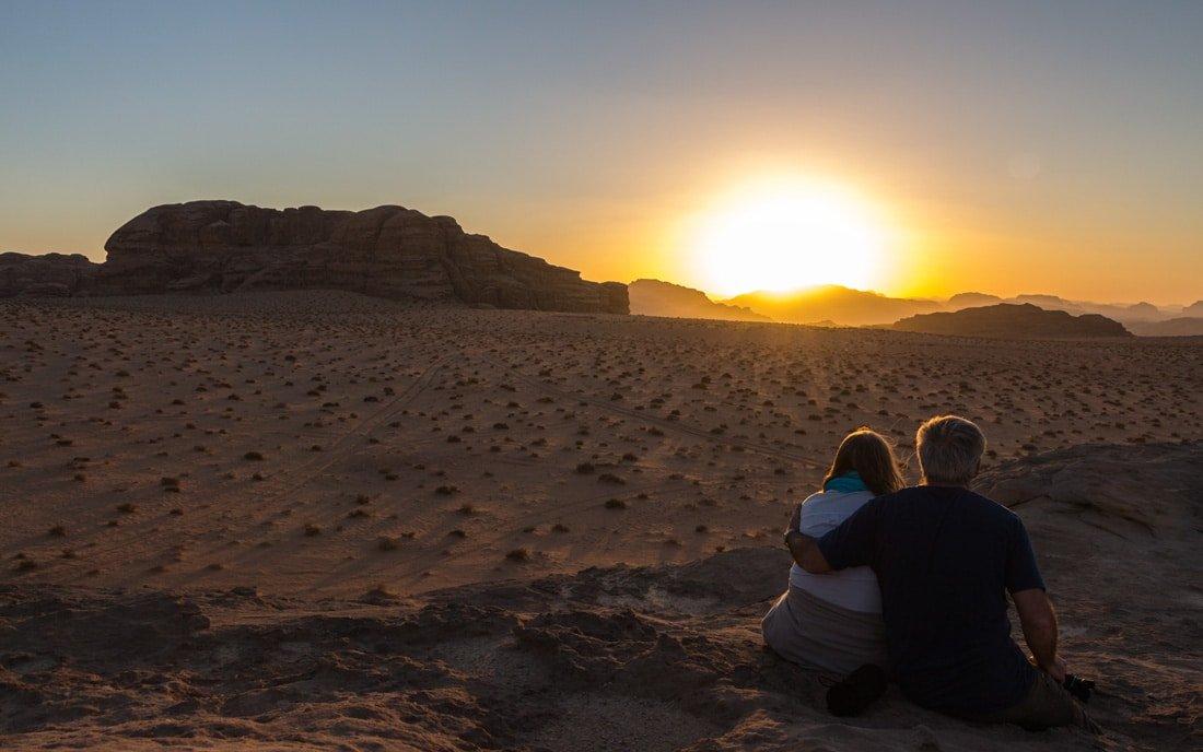 romantic sunset in wadi rum