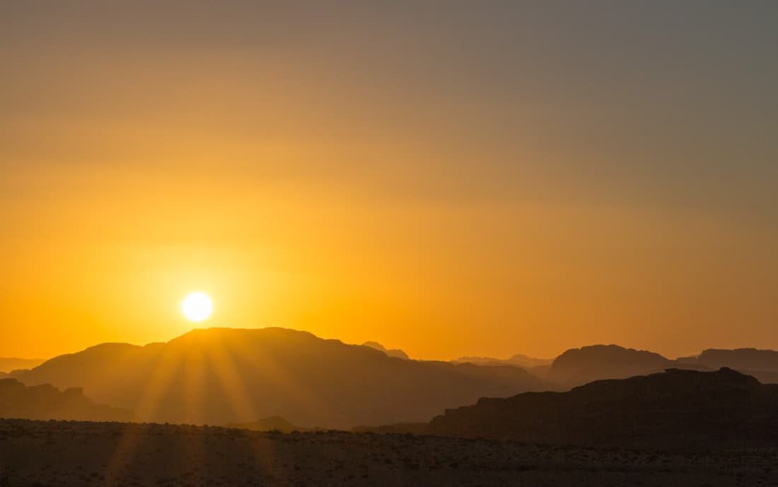 new year's even sunset in wadi rum