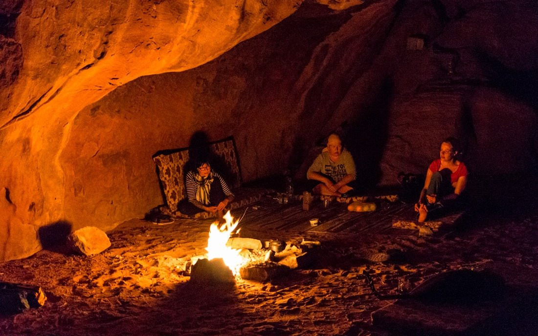 staying overnight in a cave in wadi rum